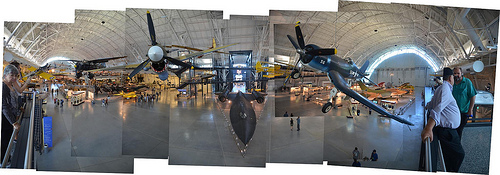 Steven F. Udvar-Hazy Center: Photomontage of main entrance view, such as P-40 Warhawk & F-four Corsair up front, SR-71 Background under in the close to distance, and the Space Shuttle Enterprise beyond