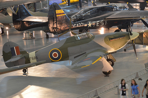 Steven F. Udvar-Hazy Center: Hawker Hurricane Mk. IIC, with Northrop P-61C Black Widow in the background